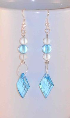 Clear+Turquoise+Crystal+Earrings