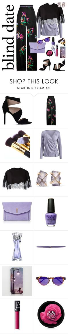 """""""About the Unknown"""" by petalp ❤ liked on Polyvore featuring Carvela, Etro, McQ by Alexander McQueen, Melissa Joy Manning, Hayward, Lancôme, Prada, RetroSuperFuture, NARS Cosmetics and The Body Shop"""