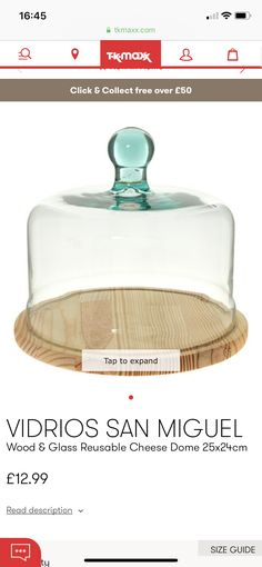 Cheese Dome, Tk Maxx, Wood Glass, Product Description