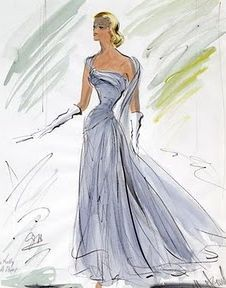 A sketch by Edith Head for Grace Kelly's blue dress in 'To Catch a Thief'