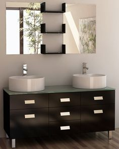 Design Element Wellington Double Sink Vanity Set, 55-Inch. Solid oak construction. Tempered glass countertop. Round vessel sink. Polished chrome pop-up drains. Three center drawers and two soft closing cabinets doors.