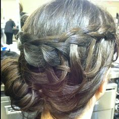 Summer updo with waterfall braid to a low, side, messy bun. Weave waterfall pieces and pin! :)