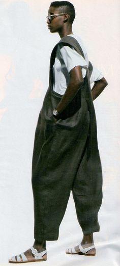 1990 ELLE France ''Salopette L'Autre Silhouette''. Model Sebastian