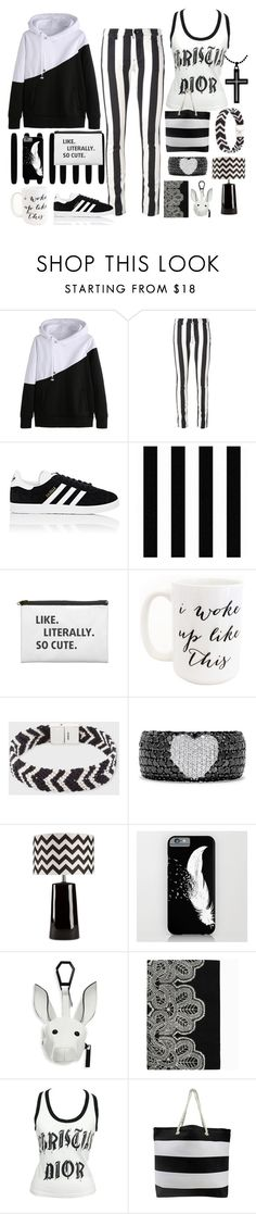 """Opposites Attract II"" by yournightnurse ❤ liked on Polyvore featuring Off-White, adidas, Moon and Lola, Paul Smith, Effy Jewelry, Surya, Kendall + Kylie and Christian Dior"
