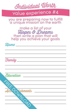 """Personal Progress Individual Worth #4 Worksheet for Come Follow Me lesson: """"Why is it important for me to gain an education and develop skills?"""""""