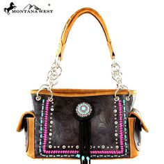 Montana West Concho Collection Tassel Bag