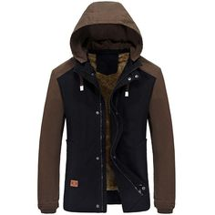 Mens Winter Cotton Blended Two-tone Thick Windproof Warm Detachable Hooded Jacket Coat - Gchoic.com