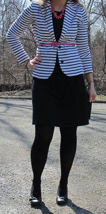 black dress, striped blazer, pink accessories | work ready
