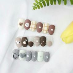 korean nail art in 2020 Cute Nail Art, Cute Nails, Pretty Nails, Korean Nail Art, Korean Nails, Asian Nail Art, Nail Design Spring, Acryl Nails, Kawaii Nails