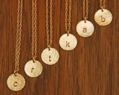 Gold Initial Disc Monogram Necklaces