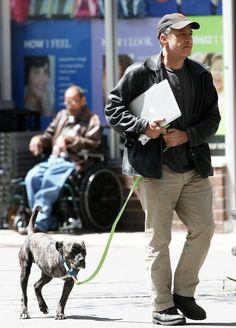 Jon Stewart Takes His Three-Legged Dog For A Walk