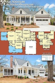 Good space....bigger great room, extend porch all the way around. Introducing Architectural Designs Country Charmer Home Plan 740005LAH has 3-4 beds and 3 baths and over 2,300 square feet of heated living space plus an optional lower level.