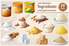 Ingredients for cooking. Food icons by Ann-zabella on Creative Market