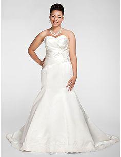 novia de satén de tren capilla trompeta / sirena más el vestido de boda del tamaño - EUR € 247.49
