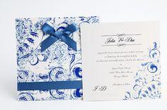 Invitación para boda marinera en azul y blanco inspirada en Grecia