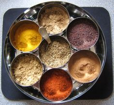 * Sweet Curry Powder: turmeric, coriander, cumin, cinnamon, ginger, yellow mustard, white pepper, fenugreek, cardamom, cloves, nutmeg, cayenne pepper, black pepper    * = I've actually been to this site