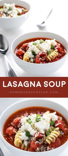 Lasagna Soup! Warm up with a bowl of classic lasagna soup, including the best Italian flavors mixed with tender pasta, tomatoes, ground beef, and ricotta cheese topping. | HomemadeHooplah.com