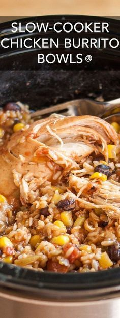 USE WHITE RICE Slow-Cooker Chicken Burrito Bowls Recipe. This EASY crockpot chicken dinner is soon to be one of your favorite meals! I don't know anyone who doesn't like Mexican food, and this simple rice bowl is a party in your crock pot! Slow Cooker Huhn, Crock Pot Slow Cooker, Slow Cooker Recipes, Cooking Recipes, Cooking Tips, Easy Recipes, Healthy Recipes, Cooking Classes, Cheap Recipes