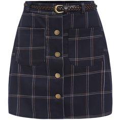Single Breasted Plaid Skirt found on Polyvore featuring skirts, bottoms, navy, tartan skirt, plaid skirt, navy blue bodycon skirt, bodycon skirt and short plaid skirt