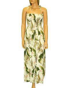 Long Maxi Smocked Tube Top Aloha Dress Orchids Creation #RC-61204R-OC