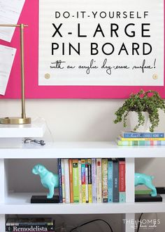 I'm absolutely thrilled with the results of this DIY Large Pin Board (with an acrylic dry-erase surface!) Let me share how I made it! Insulation Sheets, Diy Organization, Organizing, Diy Wall Art, Getting Organized, Diy Home Decor Projects, Decoration, Wall Treatments, Cool Diy