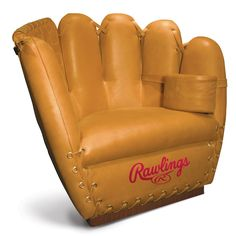 The Rawlings Glove Chair and Ottoman are designed for the ultimate baseball fan. Handcrafted from Rawlings' Heart of the Hide glove leather, this chair and ottoman combo is a luxurious addition to your sports den or basement. Chair measures X X STYLE: Baseball Chair, Baseball Stuff, Baseball Gloves, Baseball Mom, Baseball Crafts, Angels Baseball, Baseball Equipment, Baseball Season, Hand Chair