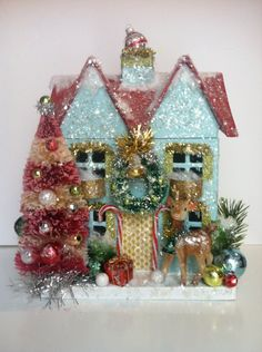 Items similar to Vintage Adorned Holiday House on Etsy Hobby Lobby Christmas, Christmas Past, Christmas Holidays, Christmas Crafts, Christmas Decorations, Christmas Ornaments, Holiday Decor, Christmas Glitter, Xmas