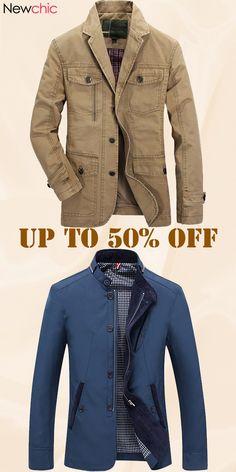 3f7df0c203c  Shop Now Plus Size Men s Outdoor Jacket Solid Color Casual Business Cotton  Coat Collection