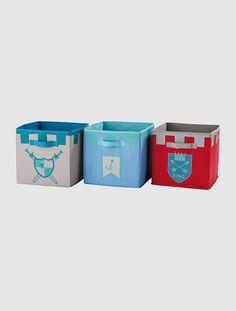 3er-Set Aufbewahrungsboxen für Jungen WAPPEN