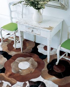 Cowhide Flower Multi    THE RUG COMPANY