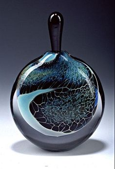 "Art-glass perfume bottle entitled ""Black Amethyst Silver Veil Perfume Bottle,"" created by Robert Burch"