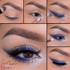 Ely Marino using Motives! 1.Apply Birch (mavens palette) onto the brow bone 2.Apply Blizzard to the inner corner  3.Taking a piece of scotch tape and had to remove most of stickiness, then apply at an angle underneath the eye! Using Midnight sweep in the outer corner of the eye onto the lash line! For a brighter blue apply Blue (Muse Palette) over top! Blend any harsh edges 4.Remove Tape gently and smudge both Midnight and the blue shadow from the Muse palette underneath the lower lash line