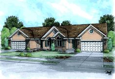 Ranch Traditional Multi-Family Plan 68718 (Family Home Plans) 2484 sq ft  4 Bedrooms 4 Bath 4 Garage