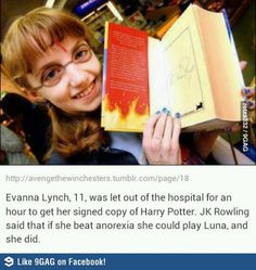 Lynch also personally met Rowling who described her as 'perfect' for the role of Luna Lovegood