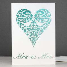 mrs & mrs two doves card