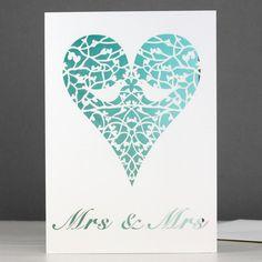 mrs & mrs two doves card