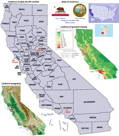 California | California's Counties, Population Density and Geography Map:
