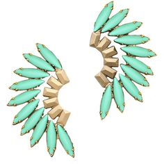 Elizabeth Cole Tiberia Earring Turquoise By (2.325 ARS) ❤ liked on Polyvore featuring jewelry, earrings, accessories, vintage turquoise earrings, mint jewelry, vintage post earrings, turquoise jewellery and vintage jewelry