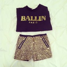 Ballin Out Top & Diamond Glimmer Shorts  http://www.vanityrow.com/products/ballin-out-sweater http://www.vanityrow.com/products/diamond-glimmer-shorts