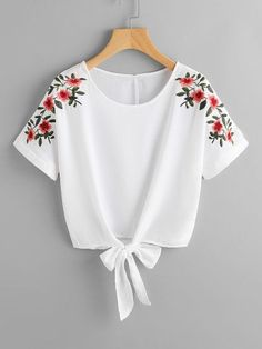 SheIn offers Flower Embroidery Kno - French Shirt - Ideas of French Shirt - Shop Flower Embroidery Knot Front Top online. SheIn offers Flower Embroidery Knot Front Top & more to fit your fashionable needs. Teen Fashion Outfits, Trendy Outfits, Girl Fashion, Summer Outfits, Girl Outfits, Fashion Dresses, Womens Fashion, Fashion Top, Winter Outfits