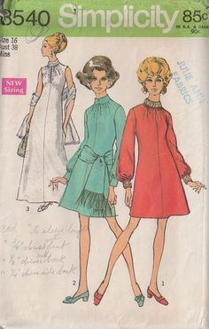 Simplicity 8540 Vintage 60's Sewing Pattern GORGEOUS Mod Shirred & Slit Peekaboo Neck Party Dress, Formal Red Carpet Evening Gown & Fringe Scarf Belt or Shawl