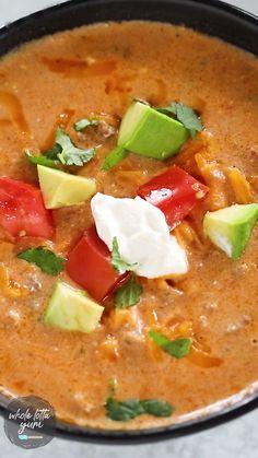 Healthy Taco Soup, Low Carb Taco Soup, Keto Taco, Easy Taco Soup, Keto Soup, Crock Pot Tacos, Slow Cooker Tacos, Crock Pot Soup, Pressure Cooker Recipes
