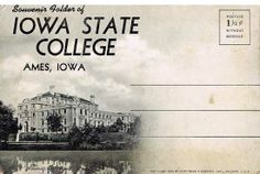 Souvenir Folding Pack Postcard Iowa State College - $1.00 : Vintage Paper Collectibles Books and Magazines. View of Memorial Union with Lake LaVern in the foreground,Ames, Iowa.