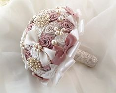 Items similar to Wedding brooch Bouquet Unique Crystal satin Bridal Broach Bouquet, pearl Bouquet Dusty pink/ ivory color combo on Etsy Broch Bouquet, Pearl Bouquet, Ribbon Bouquet, Wedding Brooch Bouquets, Flower Bouquet Wedding, Bridesmaid Bouquet, Boquet, Satin Flowers, Bridal Flowers