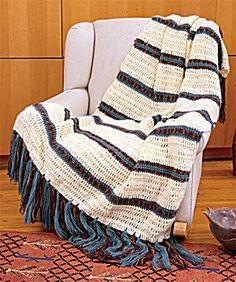 Crochet Southwestern Stripes Afghan - Free Crochet Pattern With Website Registration - (lionbrand)
