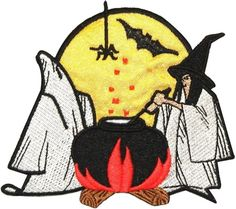 """Amazon.com: [Single Count] Custom and Unique (4"""" x 3 1/2"""" Inch) """"Halloween"""" Creepy Festive Witch Ghost & Vampire Bat Brewing Cauldron Design Iron On Embroidered Applique Patch {Red, Yellow, White & Black Colored}"""