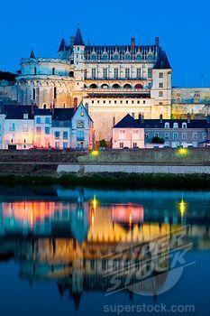 Castle at the waterfront, Chateau at Amboise, Loire River, Amboise, Indre Et Loire, France.