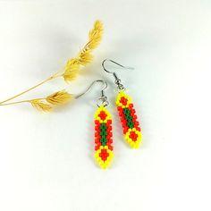 Funny earrings Yellow green earrings Modern earrings by Galiga