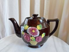 Teapot-Brown Glazed and Embossed from Japan