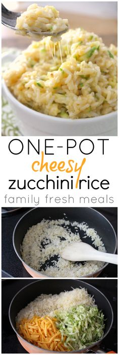 One Pot Cheesy Zucchini Rice - A quick recipe that will be the most favorite side of your family! #CountryCrock #sponsored. brown rice. lightened up.